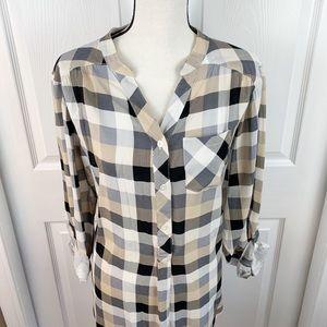 Avenue EUC Lightweight, Plaid Button Up Shirt